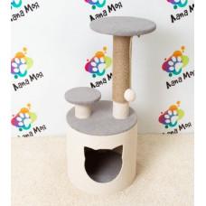 Круглый домик для кошек с когтеточкой, Арт 14  (40*40,*80см) Когтеточка