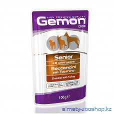 Gemon Dog Senior Chicken 100 г пауч для пожилых собак кусочки с индейкой , Джемон для собак, консерв