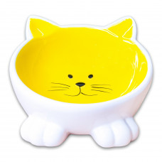 КерамикАрт миска для кошекмордочка кошки на ножках 100мл,желтая