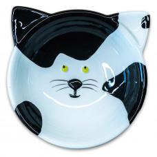 КерамикАрт миска для кошек мордочка кошки 100мл,черно-белая