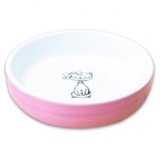 """КерамикАрт миска для кошек """"Кошка с бантиком"""" 370мл,лиловая"""