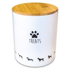КерамикАрт Бокс керамический для хранения лакомств для собак,1300мл,белый