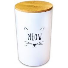 КерамикАрт Бокс керамический для хранения корма для кошек,1700мл,белый