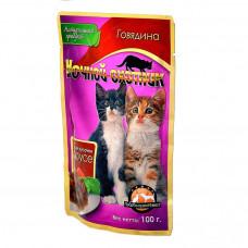 Ночной охотник кусочки в соусе для котят с говядиной 100 г