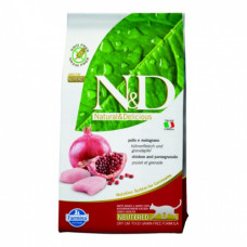 Farmina N&D Cat GF Chicken & Pomegranate Neutered 300гр, питание для стерилизованных кошек и кастрир