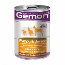 Gemon Dog Puppy&Junior Chicken 415 г банка для щенков кусочки курицы с индейкой , Джемон для щенков