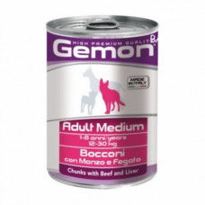 Gemon Dog Medium Консервы для собак средних пород кусочки говядины 415 г , Джемон для собак (консерв