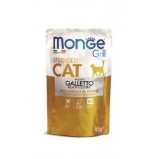 Monge Cat Grill пауч для стерелизованных кошек кусочки в желе с итальянской курицей 85 гр , Монж