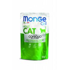 Monge Cat Grill пауч для взрослых кошек  кусочки в желе с итальянским кроликом  85 гр , Монж