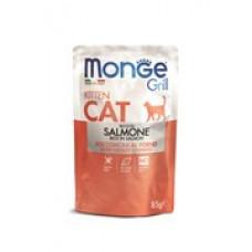 Monge Cat Grill пауч для котят  кусочки в желе с норвежским лосем  85 гр , Монж