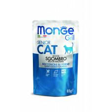 Monge Cat Grill пауч для пожилых кошек кусочки в желе с эквадорской макрелью 85 гр , Монж