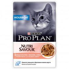 Pro Plan House Cat с лососем в соусе 85 г пауч для домашних , Проплан для кошек (консервы, паучи)
