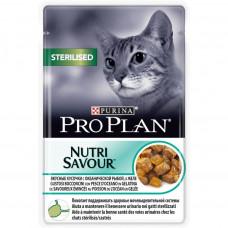 Pro Plan Sterilised с океанической рыбой в желе 85 г пауч для кастрированных , Проплан для кошек (ко