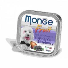 Monge Dog Fruit консервы для собак индейка с черникой 100 г , Монж для собак, консервы, паучи