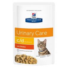 Hill's c/d Urinary Chicken 85г пауч для кошек при профилактике МКБ с курицей (кусочки в соусе), , Хи