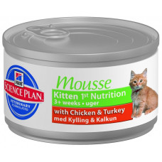 Hill's Kitten Mousse Chicken&Turkey 82 г мусс для котят с курицей , Хилс (консервы, паучи)