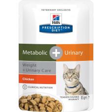 Hill's Metabolic+Urinary 85г паучи для взрослых кошек для коррекции веса и лечения МКБ , Хилс  для к