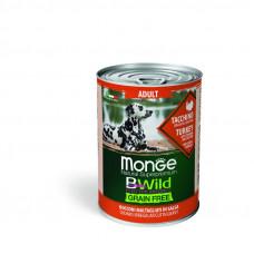 Monge BWild Grain Free д/собак индейка/тыква/кабачки 400гр