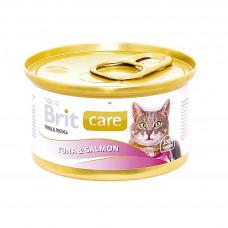 Brit консервы для кошек с тунцом и лососем,  80 г , Брит