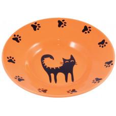КерамикАрт миска-блюдце керамическая 140 мл оранжевая