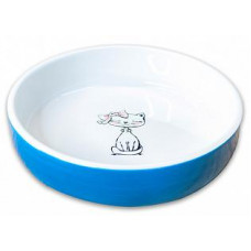 """КерамикАрт миска для кошек """"Кошка с бантиком"""" 370мл,голубая"""