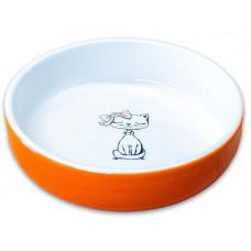 """КерамикАрт миска для кошек """"Кошка с бантиком"""" 370мл,оранжевая"""