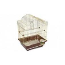 п3116AG клетка для птиц золото (37*28*47)закрытая кормушка ,крыша круглая