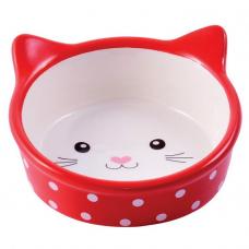 КерамикАрт миска для кошек мордочка кошки 250мл,красная в горошек