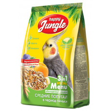Happy Jungle Корм для средних попугаев в период линьки 3 в 1 500гр