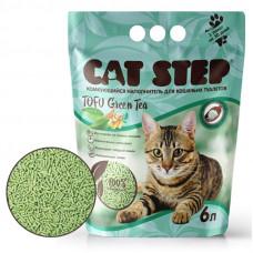 Cat Step Tofu Geen Tea 12л, растительный комкующийся , Кет степ наполнитель для кошек