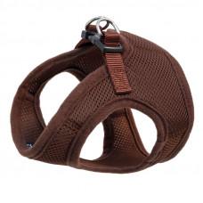 Мягкая шлейка-жилетка с поводком коричневый.обхват груди 350 мм. поводок 15*1200 мм