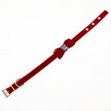 Ошейник 12 замша(бант+камень)35 см красный