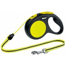 Рулетка-трос для собак до 12кг, 5м, черная , Neon Classic S