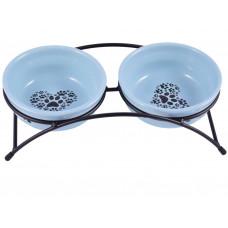 Миска д/соб керамикАрт керамическая двойная 2*290 мл синие