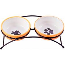 Миска д/соб и кошек  керамикАрт керамическая двойная 2*290 мл оранжевые