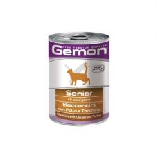 Gemon Cat консервы для пожилых кошек кусочки курицы с индейкой 415 г, Джемон