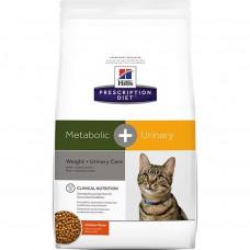 Hill's Prescription Diet Metabolic + Urinary Weight + Urinary Care 1,5кг для взрослых кошек для коррекции веса и лечения мочекаменной болезни