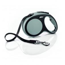 Рулетка-ремень для собак до 60кг, 5м, серая, New Comfort L Tape 5 m, grey 490 г