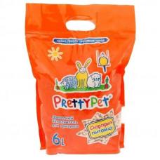 Pretty Cat Наполнитель древесный с морковными чипсами для грызунов и птиц, 6л,  Прети кет