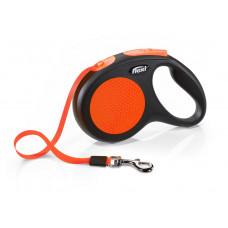 Flexi Рулетка-трос для собак до 20кг, 5м, оранжевая , Neon Classic M