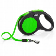 Flexi Рулетка-трос для собак до 20кг, 5м, зеленая , Neon Classic M