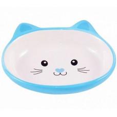 Миска Мордочка кошки голубая 160мл керам для кошек