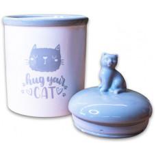 КерамикАрт Бокс керамический для хранения корма Hug your cat,1650мл,бело-серый
