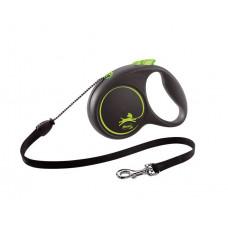 Flexi Black Design зеленая,трос 5 м до 12 кг