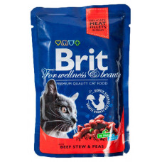 Brit premium пауч д/кошек Говядина горошек  рагу 100г , Брит