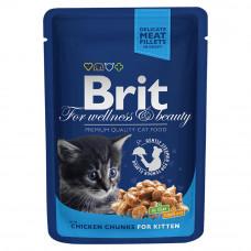 Brit premium пауч д/котят кусочки с курочкой 100г , Брит