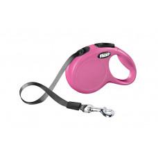 Рулетка-ремень для собак до 15кг, 5м, розовая, New Classic S tape 5m 350 г