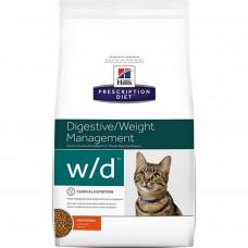 Hill's Prescription Diet w/d Digestive/Weight Management 1,5 кг для кошек, страдающих ожирением, чувствительным пищеварением