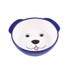 Миска д/соб керамикАрт керамическая 180 мл мордочка собаки синяя