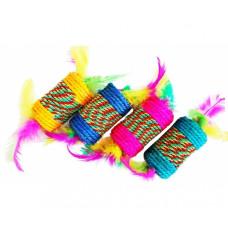 Игрушка д/кошек Катушка плетеная с перьями.